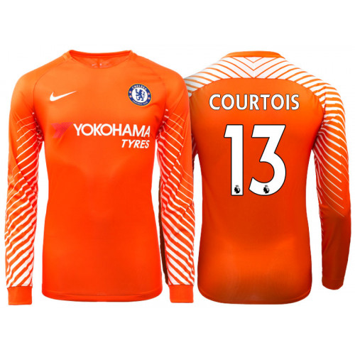 the best attitude 66511 0da5f Chelsea 2017/18Thibaut Courtois #13 Orange Home Goalkeeper ...