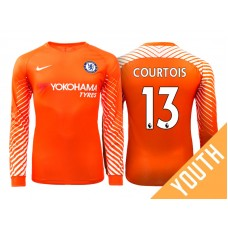 Youth - Chelsea 2017/18 Thibaut Courtois #13 Orange Home Goalkeeper Long Jersey