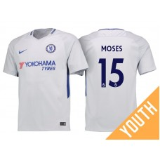 Youth - Chelsea 2017/18 Victor Moses #15 White Away Jersey - Authentic