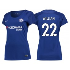 Women - Chelsea 2017/18 Willian #22 Blue Home Jersey - Authentic