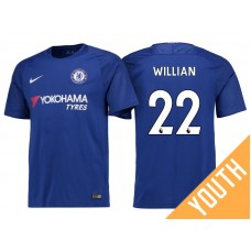 Youth - Chelsea 2017/18 Willian #22 Blue Home Jersey - Authentic