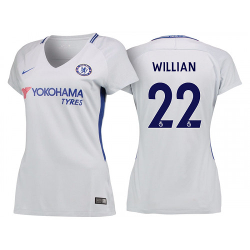 Women - Chelsea 2017/18 Willian #22 White Away Jersey - Authentic
