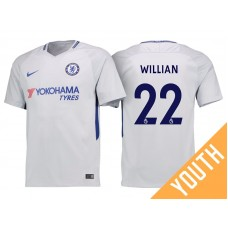 Youth - Chelsea 2017/18 Willian #22 White Away Jersey - Authentic