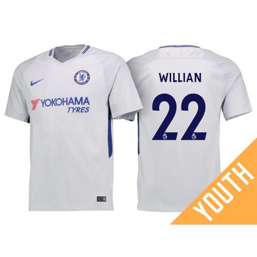 Youth - Chelsea 2017/18 Willian #22 White Away Jersey - Replica