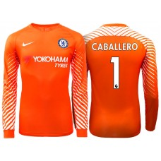 Chelsea 2017/18 Willy Caballero #1 Goalkeeper Orange Home Long Jersey