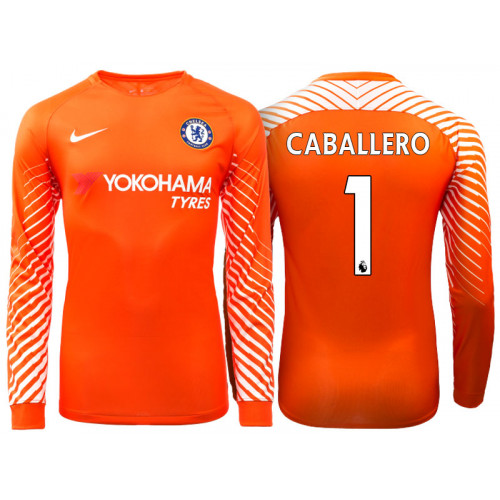 f095985fb62 Chelsea 2017 18 Willy Caballero  1 Goalkeeper Orange Home Long Jersey
