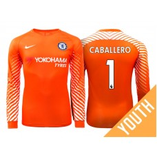 Youth - Chelsea 2017/18 Willy Caballero #1 Orange Home Goalkeeper Long Jersey