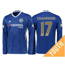 Youth - Chelsea 2016/17 Champions #17 Blue Home Long Jersey