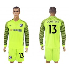 Chelsea #13 COURTOIS goalkeeper Jersey fluorescent green long sleeves