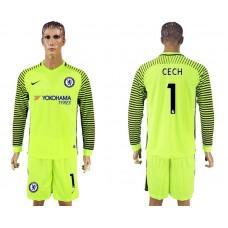 Chelsea #1 CECH goalkeeper Jersey fluorescent green long sleeves