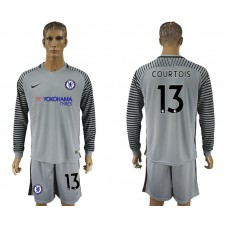 Chelsea #13 COURTOIS goalkeeper Jersey gray long sleeves