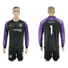 Chelsea #1 CECH goalkeeper Jersey black long sleeves