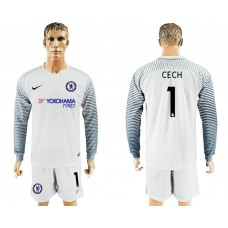 Chelsea #1 CECH goalkeeper Jersey white long sleeves