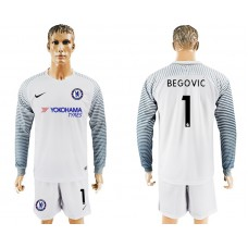 Chelsea #1 BEGOVIC goalkeeper Jersey white long sleeves