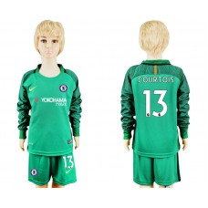 Youth Chelsea #13 COURTOIS goalkeeper Jersey green long sleeves