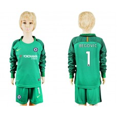 Youth Chelsea #1 BEGOVIC goalkeeper Jersey green long sleeves
