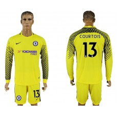 Chelsea #13 COURTOIS goalkeeper Jersey yellow long sleeves