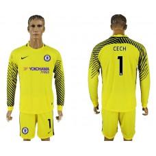 Chelsea #1 CECH goalkeeper Jersey yellow long sleeves