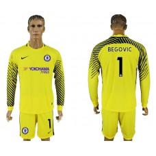 Chelsea #1 BEGOVIC goalkeeper Jersey yellow long sleeves