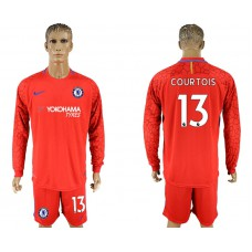 Chelsea #13 COURTOIS goalkeeper Jersey red long sleeves