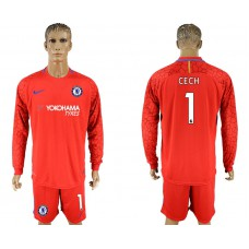 Chelsea #1 CECH goalkeeper Jersey red long sleeves