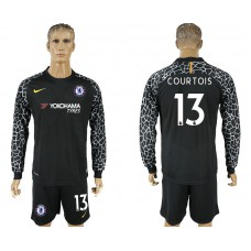 Chelsea #13 COURTOIS goalkeeper Jersey black Long sleeves