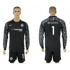 Chelsea #1 BEGOVIC goalkeeper Jersey black Long sleeves