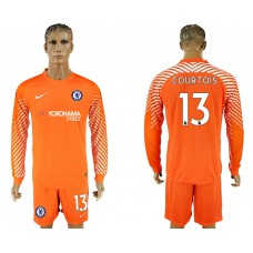 Chelsea #13 COURTOIS goalkeeper Jersey orange long sleeves