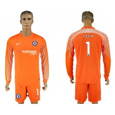 Chelsea #1 CECH goalkeeper Jersey orange long sleeves