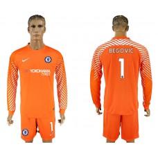 Chelsea #1 BEGOVIC goalkeeper Jersey orange long sleeves