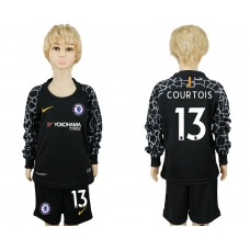 Youth Chelsea #13 COURTOIS goalkeeper Jersey black long sleeves