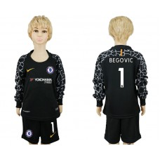 Youth Chelsea #1 BEGOVIC goalkeeper Jersey black long sleeves