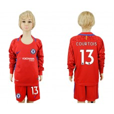 Youth Chelsea #13 COURTOIS goalkeeper Jersey red Long sleeves