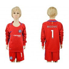 Youth Chelsea #1 BEGOVIC goalkeeper Jersey red Long sleeves