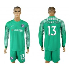 Chelsea #13 COURTOIS goalkeeper Jersey green long sleeves