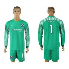 Chelsea #1 CECH goalkeeper Jersey green long sleeves