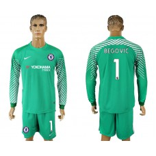 Chelsea #1 BEGOVIC goalkeeper Jersey green long sleeves