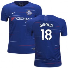 YOUTH Chelsea #18 Olivier Giroud Home Blue Authentic Jersey 2018/19