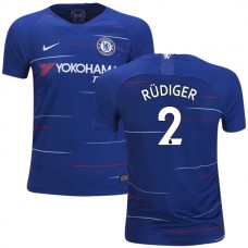 YOUTH Chelsea #2 Antonio Rudiger Home Blue Authentic Jersey 2018/19