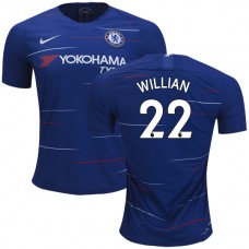 Chelsea #22 Willian Home Blue Authentic Jersey 2018/19