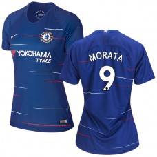 WOMEN'S Chelsea #9 Alvaro Morata Home Blue Authentic Jersey 2018/19