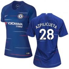 WOMEN'S Chelsea #28 Cesar Azpilicueta Home Blue Replica Jersey 2018/19