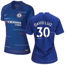 WOMEN'S Chelsea #30 David Luiz Home Blue Authentic Jersey 2018/19