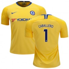 Chelsea #1 Willy Caballero Away Yellow Authentic Jersey 2018/19