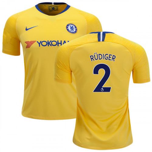 purchase cheap 10694 7067a Chelsea #2 Antonio Rudiger Away Yellow Replica Jersey - 2018 ...