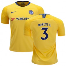 Chelsea #3 Marcos Alonso Away Yellow Authentic Jersey 2018/19