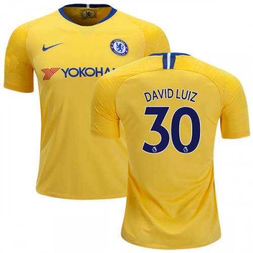 watch e9c7e c2bb6 KID's Chelsea #30 David Luiz Away Yellow Authentic Jersey ...