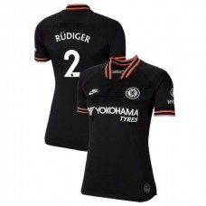 WOMEN'S Chelsea Third #2 Antonio Rudiger Black Authentic Jersey 2019/20