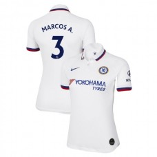 WOMEN'S Chelsea Away #3 Marcos Alonso White Authentic Jersey 2019/20