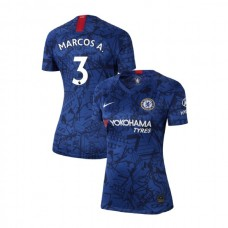 WOMEN'S Chelsea Home Stadium #3 Marcos Alonso Blue Authentic Jersey 2019/20